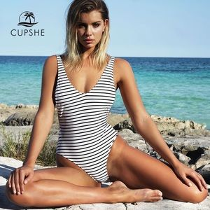 CUPSHE Happiness is Truth Plunging One-piece suit